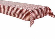 Biertisch Tischdecke 130x270 cm, Karo 1x1 cm, Rot, Baumwolle, kariert, durchgewebt, Landhausstil, Tischwäsche, Tischtuch, Biertischtischdecke, Karomuster
