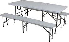 Bierzelt-Garnitur Stahlrohr 4-Sitzer 3-teilig grau