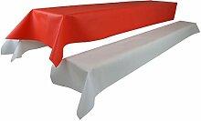 Bierzeltgarnitur 1 Tischdecke (Farbe & Breite nach Wahl) (1 x 2,5m, rot) und zwei weiße Bankauflage(0,55 x 2,5m), aus stoffähnlichem Vlies, Öko-Tex 100, ideal für jede Party, Catering, Vereinsfeier, Hochzeit, Geburtstagsfeier