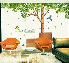Big Baum grün Blätter Vögel Wand Aufkleber PVC Home Aufkleber House Vinyl Papier Dekoration Tapete Wohnzimmer Schlafzimmer Küche Kunst Bild DIY Wandmalereien Mädchen Jungen Baby Kinderzimmer Spielzimmer Decor