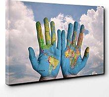 BIG Box Art Leinwanddruck Weltkarte Weltkarte auf