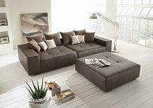 Big Leder Sofa mit Hocker– Made in Germany – Italienisches Leder - Freie Farbwahl ohne Aufpreis aus 26 Lederfarben – Nahezu jedes Sondermaß möglich! Sprechen Sie uns an. Info unter 05226-9845045 oder info@highlight-polstermoebel.de