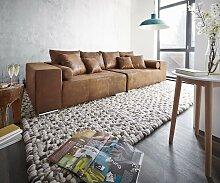 Big-Sofa Marbeya 285x115 cm Braun Antik Optik mit