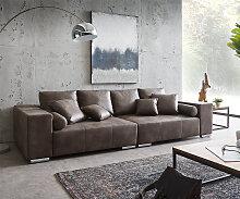 Big-Sofa Marbeya 285x115 cm Dunkelbraun mit 10