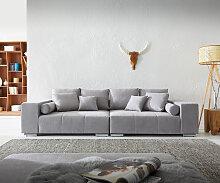 Big-Sofa Marbeya 285x115 cm Grau mit 10 Kissen