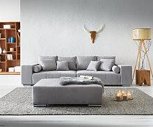 Big-Sofa Marbeya 285x115 cm Grau mit Hocker