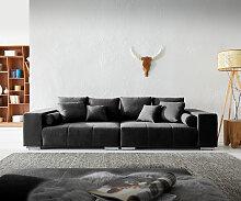 Big-Sofa Marbeya 285x115 cm Schwarz mit 10 Kissen