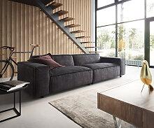 Big-Sofa Tenso 285 x 105 Velour Dunkelbraun