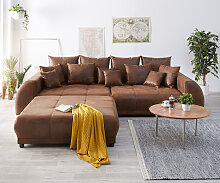 Big-Sofa Violetta 310x135 Braun Antik Optik Hocker