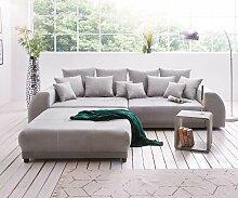 Big-Sofa Violetta 310x135 cm Grau inklusive Hocker