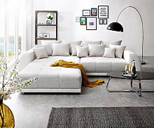 Big-Sofa Violetta 310x135 cm Hellgrau Creme mit