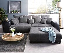 Big-Sofa Violetta 310x135 cm Schwarz mit Hocker