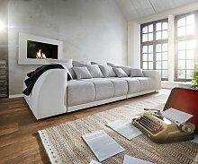 Big-Sofa Violetta 310x135 Creme Hellgrau mit 12