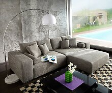 Big-Sofa XXL Marbeya 290x110 cm Hellgrau mit
