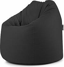 BIGBAG Sitzsack Hocker Puff Puf weichem Kunstleder PVC schwarz 78x 78x 93cm abnehmbar gefüllt mit Styroporkügelchen anpassbar an jeder Sitzfläche