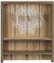 Bigbuy Home Mandala Schlüsselbrett aus Holz mit