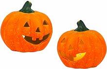 BigDean 2er Set Halloween-Kürbis Windlicht groß