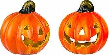 BigDean 2er Set Halloween-Kürbis Windlicht - HxD: