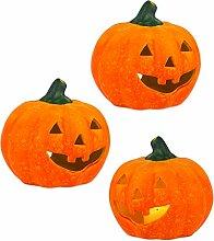 BigDean 3er Set Halloween-Kürbis Windlicht groß