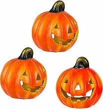 BigDean 3er Set Halloween-Kürbis Windlicht - HxD: