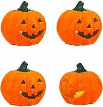 BigDean 4er Set Halloween-Kürbis Windlicht groß