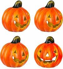 BigDean 4er Set Halloween-Kürbis Windlicht - HxD: