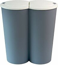 BigDean Mülleimer 50l Pastellblau weiß - 2x25l