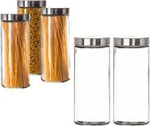 BigDean Vorratsdose 2,2 Liter Set Glas Schraubglas