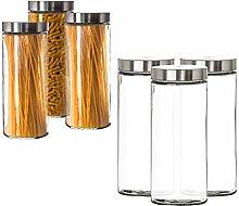 BigDean Vorratsgläser 3X 2,2 Liter Set Glas