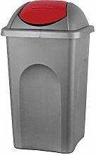 BigDean XL Mülleimer 60L mit Schwingdeckel - Grau