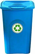 BigDean XL Mülleimer blau 50L mit Klappdeckel -