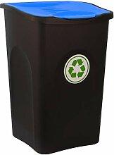 BigDean XL Mülleimer schwarz 50L mit blauem