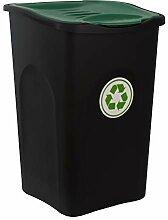 BigDean XL Mülleimer schwarz 50L mit grünem