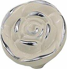 bigforest Retro mit ausgehöhlten Rose Schrank Schublade Kleiderschrank Pull Griff Hardware Chrom ivory-5Pack