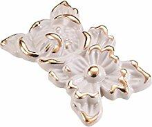 bigforest Retro mit Blumen Carving Pastorable Unterschrank Schublade Kleiderschrank Pull Griff Hardware ivory-20Pack