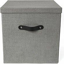 Bigso Box Of Sweden 7991C6401lea000Aufbewahrungsbox Panneau de Faser grau 31,5x 31,5x 31cm