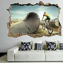 Biker Mountainbike 3D Wandkunst Aufkleber