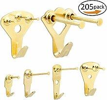 Bild Kleiderbügel, 205PCS Professional Gold Color Bild Foto Rahmen Haken Aufhängen Kit für Wandmontage mit 3Größen Pin Nägel, unterstützt 10–100lbs & reduzieren Schäden an Wänden