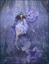 Bild mit Rahmen Babette - Fairy 41 - Digitaldruck - Holz blau, 117 x 90cm - Premiumqualität - FANTASY - MADE IN GERMANY - ART-GALERIE-SHOPde