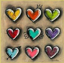 Bild mit Rahmen Carine Mougin - Colored Hearts III - Digitaldruck - Aluminium gold glänzend, 100 x 100cm - Premiumqualität - Liebe, Herzen, Symbol, Flügelherz, modern, jugendlich, Jugendzimmer, Treppenhaus - MADE IN GERMANY - ART-GALERIE-SHOPde