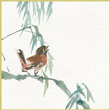 Bild mit Rahmen Chris Paschke - Russet Sparrow - Digitaldruck - Holz gold, 50 x 50cm - Premiumqualität - Spatz, Sperling, Vogel, Ast, Aquarellmalerei, Treppenhaus, Wohnzimmer - MADE IN GERMANY - ART-GALERIE-SHOPde