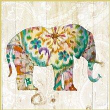 Bild mit Rahmen Danhui Nai - Boho Paisley Elephant I - Digitaldruck - Aluminium gold glänzend, 50 x 50cm - Premiumqualität - Elefant, Blumenmuster, exotisch, Hippie, Holzpanele, Schlafzimmer, Wohnzimm.. - MADE IN GERMANY - ART-GALERIE-SHOPde