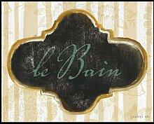 Bild mit Rahmen Danhui Nai - le Bain - Digitaldruck - Alimunium schwarz glänzend, 63 x 50cm - Premiumqualität - Türschild, Badezimmer, Tapetenmuster, Nostalgie, Kalligrafie, Bad - MADE IN GERMANY - ART-GALERIE-SHOPde