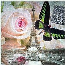 Bild mit Rahmen Frank Assaf - Butterfly I - Digitaldruck - Holz silber, 50 x 50cm - Premiumqualität - Eiffelturm, Wahrzeichen, Paris, Rose, Schmetterling, dekorativ, romantisch, Wohnzimmer - MADE IN GERMANY - ART-GALERIE-SHOPde