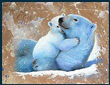 Bild mit Rahmen Jean-Marc Chamard - Polar bear with cub 02 - Digitaldruck - Holz blau, 70 x 89.6cm - Premiumqualität - TIERE - MADE IN GERMANY - ART-GALERIE-SHOPde