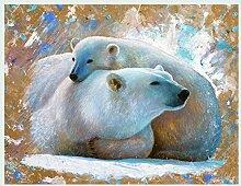 Bild mit Rahmen Jean-Marc Chamard - Polar Bear with cub 03 - Digitaldruck - Holz silber, 50 x 64cm - Premiumqualität - TIERE - MADE IN GERMANY - ART-GALERIE-SHOPde