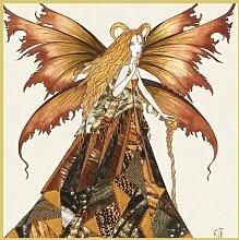Bild mit Rahmen Johara - Fe du Capricorne - Digitaldruck - Holz gold, 100 x 100cm - Premiumqualität - Sternzeichen, Steinbock, Fabelwesen, Fee, Elfe, Fantasy, Modern, Illustration, Schlaf.. - MADE IN GERMANY - ART-GALERIE-SHOPde