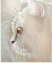 Bild mit Rahmen Jutta Plath - White Tiger - Digitaldruck - Holz silber, 120 x 144cm - Premiumqualität - Katze, Tierportrait, weiße Katze, naturalisitisch, naturgetreu, Treppenhaus, Jugendzimmer - MADE IN GERMANY - ART-GALERIE-SHOPde