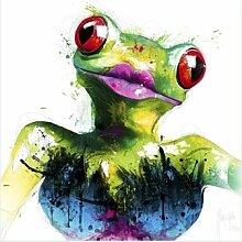 Bild mit Rahmen Patrice Murciano - Grenouille - Digitaldruck - Holz silber, 40 x 40cm - Premiumqualität - Pop Art, Frosch, Froschdame, sweet, frech, witzig, Humor, Leuchtfarben, Neon, Schrill, Modern - MADE IN GERMANY - ART-GALERIE-SHOPde