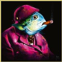 Bild mit Rahmen Patrice Murciano - Oncle Sushi - Digitaldruck - Aluminium gold glänzend, 40 x 40cm - Premiumqualität - Pop Art, Fisch, rauchender Fisch, Zigarre, Tierportrait, Profil, frech, witzig, Humor - MADE IN GERMANY - ART-GALERIE-SHOPde